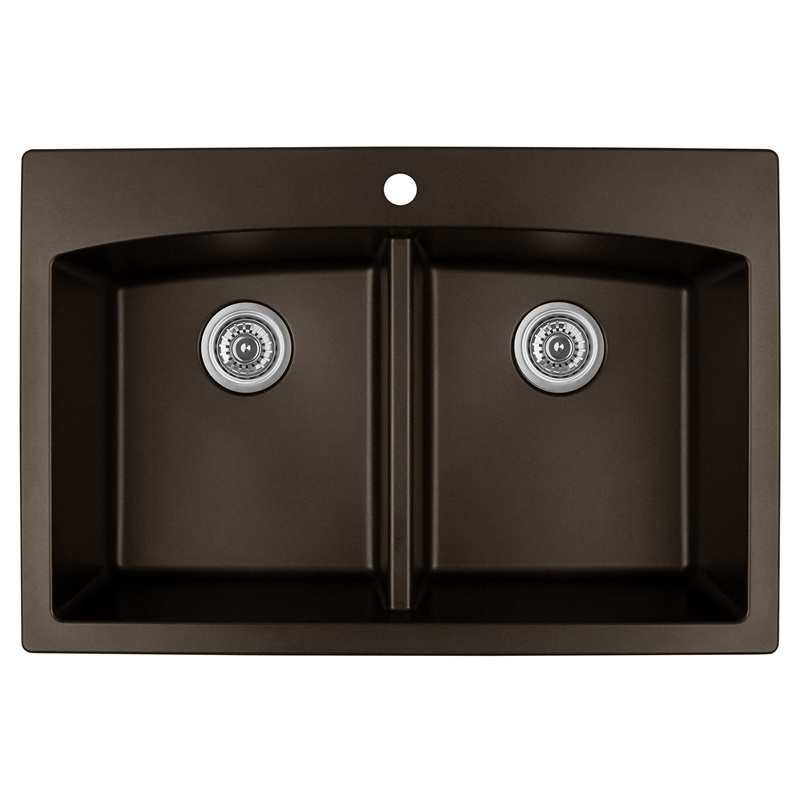 "Karran QT-710 BROWN, 33"" x 22"" Quartz Top Mount Kitchen Sink Double Bowl, Brown :: Image 10"