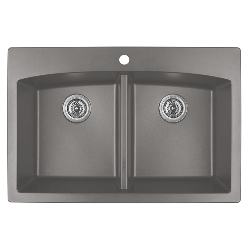 "Karran QT-710 CONCRETE, 33"" x 22"" Quartz Top Mount Kitchen Sink Double Bowl, Concrete :: Image 10"
