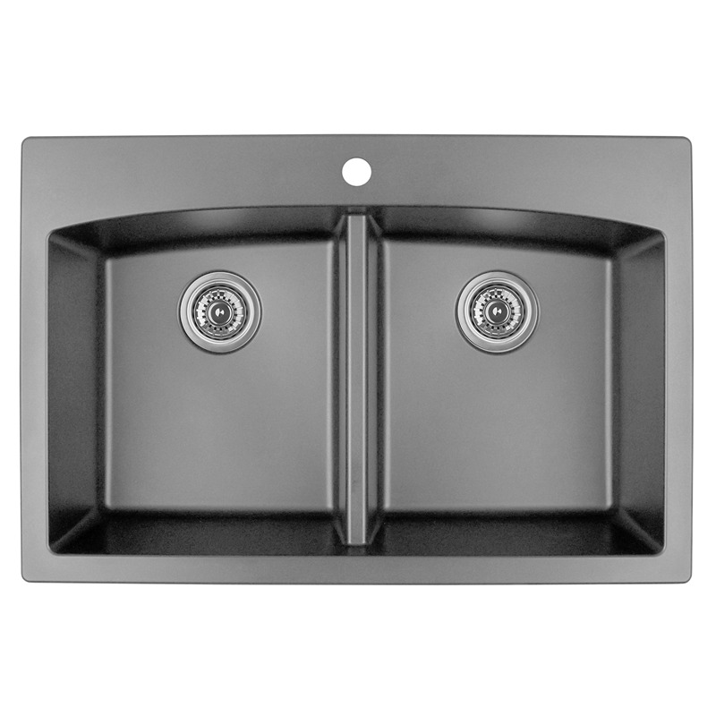 "Karran QT-710 GREY, 33"" x 22"" Quartz Top Mount Kitchen Sink Double Bowl, Grey :: Image 10"