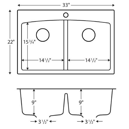 """Karran QT-710 BLACK, 33"""" x 22"""" Quartz Top Mount Kitchen Sink Double Bowl, Black :: Image 20"""