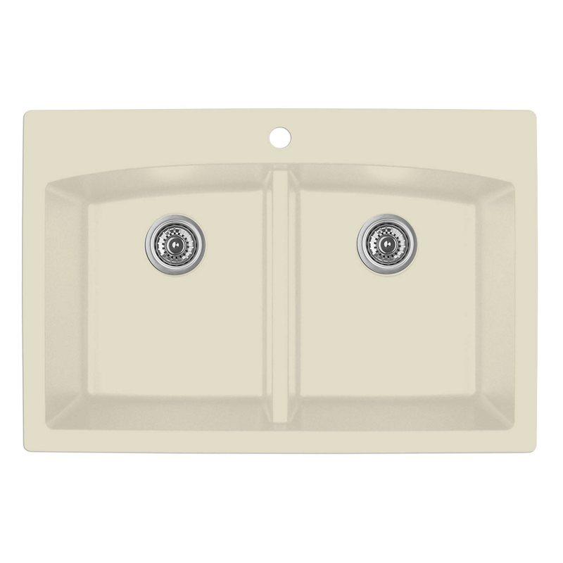 """Karran QT-710 BISQUE, 33"""" x 22"""" Quartz Top Mount Kitchen Sink Double Bowl, Bisque :: Image 10"""