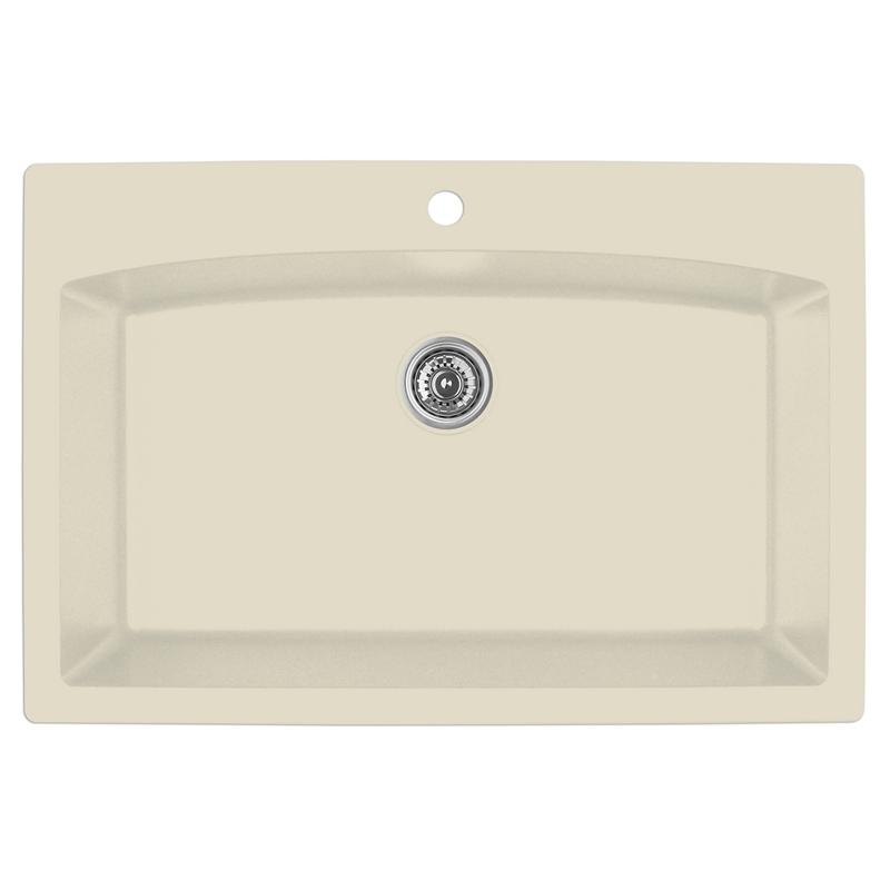 """Karran QT-712 BISQUE, 33"""" x 22"""" Quartz Top Mount Kitchen Sink Single Bowl, Bisque :: Image 10"""