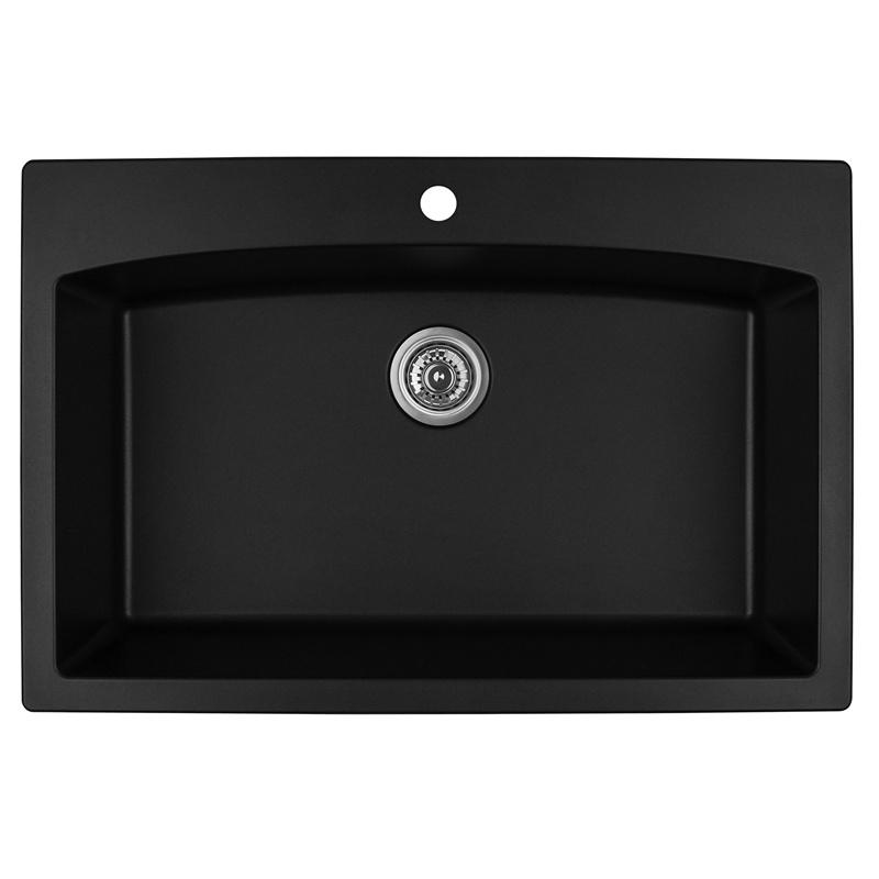 "Karran QT-712 BLACK, 33"" x 22"" Quartz Top Mount Kitchen Sink Single Bowl, Black :: Image 10"
