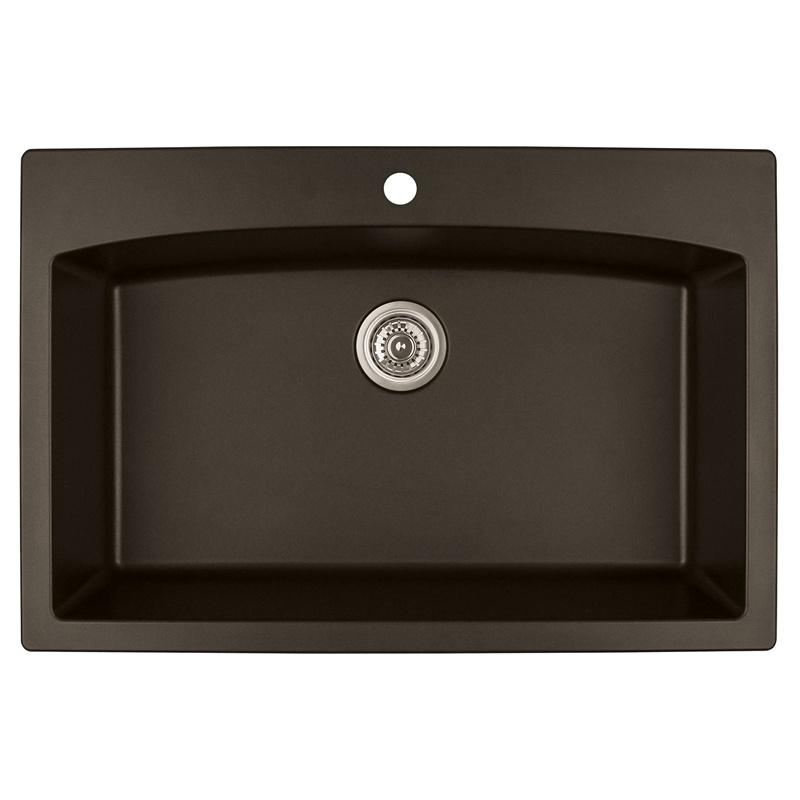"""Karran QT-712 BROWN, 33"""" x 22"""" Quartz Top Mount Kitchen Sink Single Bowl, Brown :: Image 10"""