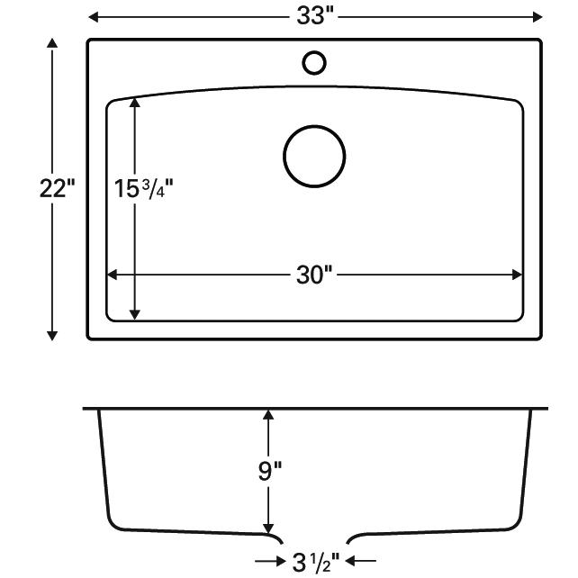 "Karran QT-712 BLACK, 33"" x 22"" Quartz Top Mount Kitchen Sink Single Bowl, Black :: Image 20"