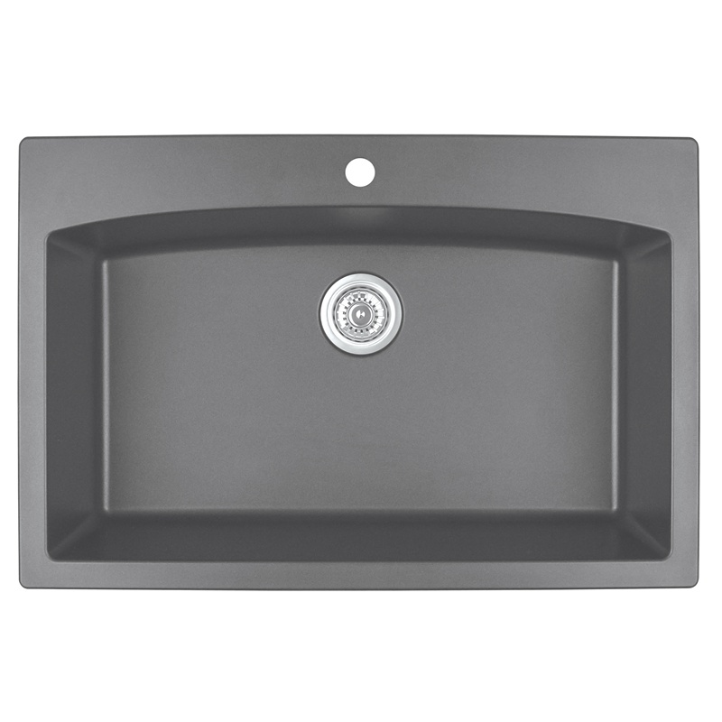 "Karran QT-712 GREY, 33"" x 22"" Quartz Top Mount Kitchen Sink Single Bowl, Grey :: Image 10"
