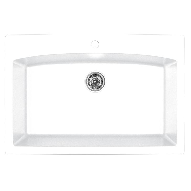 "Karran QT-712 WHITE, 33"" x 22"" Quartz Top Mount Kitchen Sink Single Bowl, White :: Image 10"