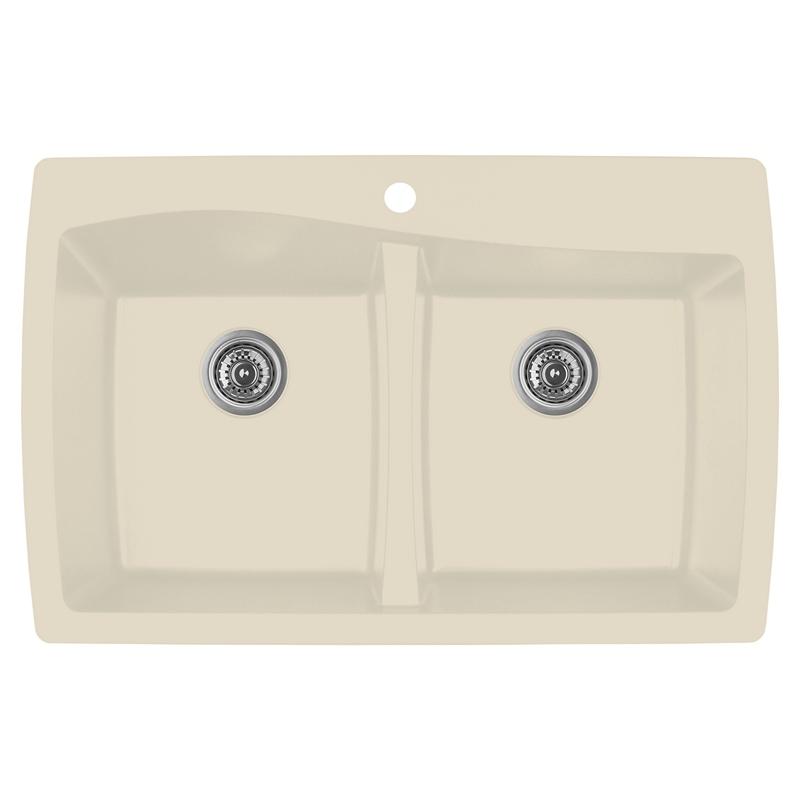 """Top Mount Sink Kitchen: Karran QT-720 BISQUE, 34"""" X 22"""" Quartz Top Mount Kitchen"""