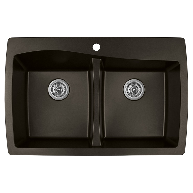 "Karran QT-720 BROWN, 34"" x 22"" Quartz Top Mount Kitchen Sink Double Bowl, Brown :: Image 10"