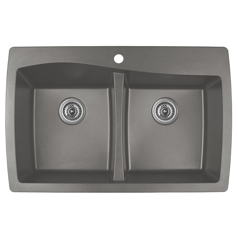 """Karran QT-720 CONCRETE, 34"""" x 22"""" Quartz Top Mount Kitchen Sink Double Bowl, Concrete :: Image 10"""