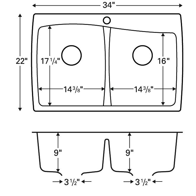 """Karran QT-720 BLACK, 34"""" x 22"""" Quartz Top Mount Kitchen Sink Double Bowl, Black :: Image 20"""