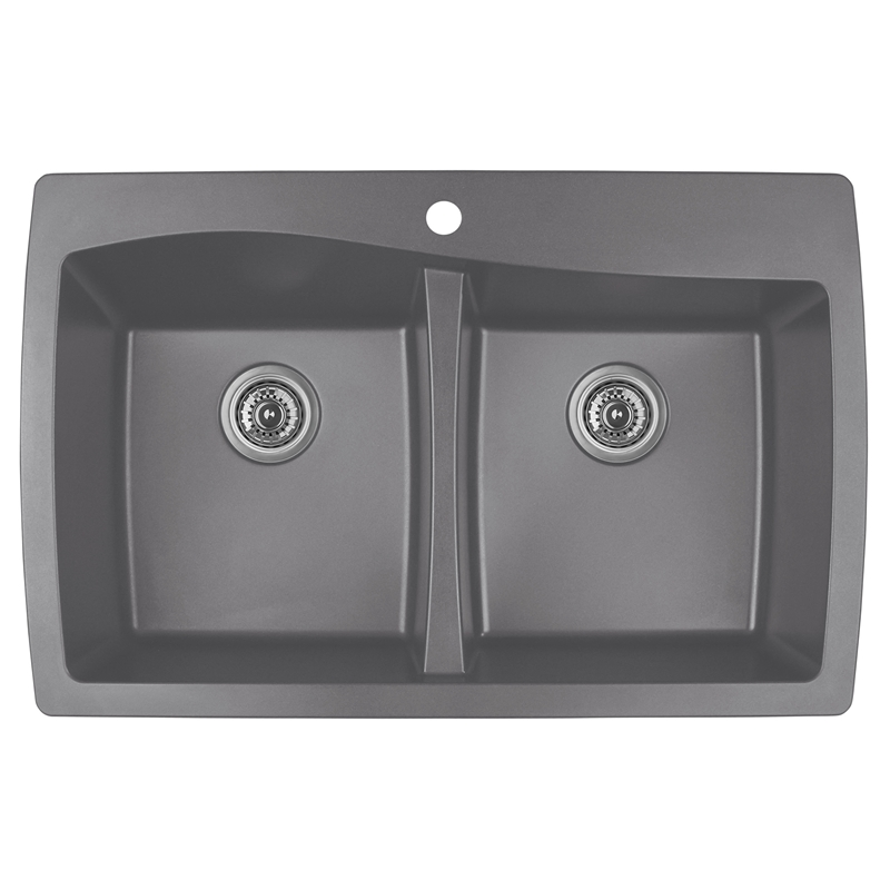 "Karran QT-720 GREY, 34"" x 22"" Quartz Top Mount Kitchen Sink Double Bowl, Grey :: Image 10"