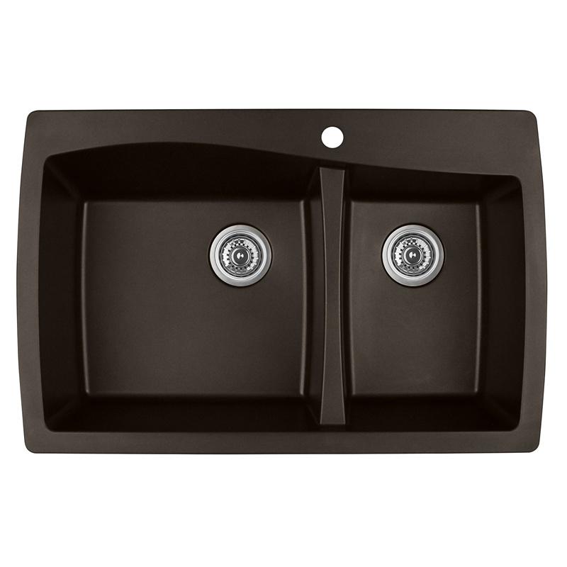 "Karran QT-721 BROWN, 34"" x 22"" Quartz Top Mount Kitchen Sink Double Bowl, Brown :: Image 10"