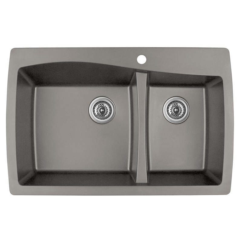 """Karran QT-721 CONCRETE, 34"""" x 22"""" Quartz Top Mount Kitchen Sink Double Bowl, Concrete :: Image 10"""
