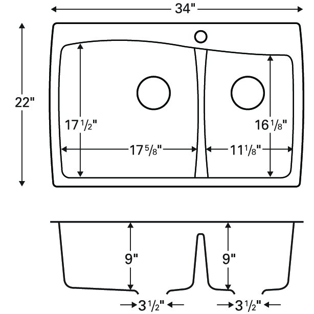 """Karran QT-721 BLACK, 34"""" x 22"""" Quartz Top Mount Kitchen Sink Double Bowl, Black :: Image 20"""