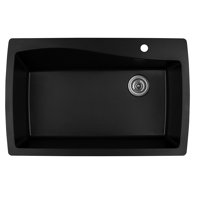 "Karran QT-722 BLACK, 34"" x 22"" Quartz Top Mount Kitchen Sink Single Bowl, Black :: Image 10"