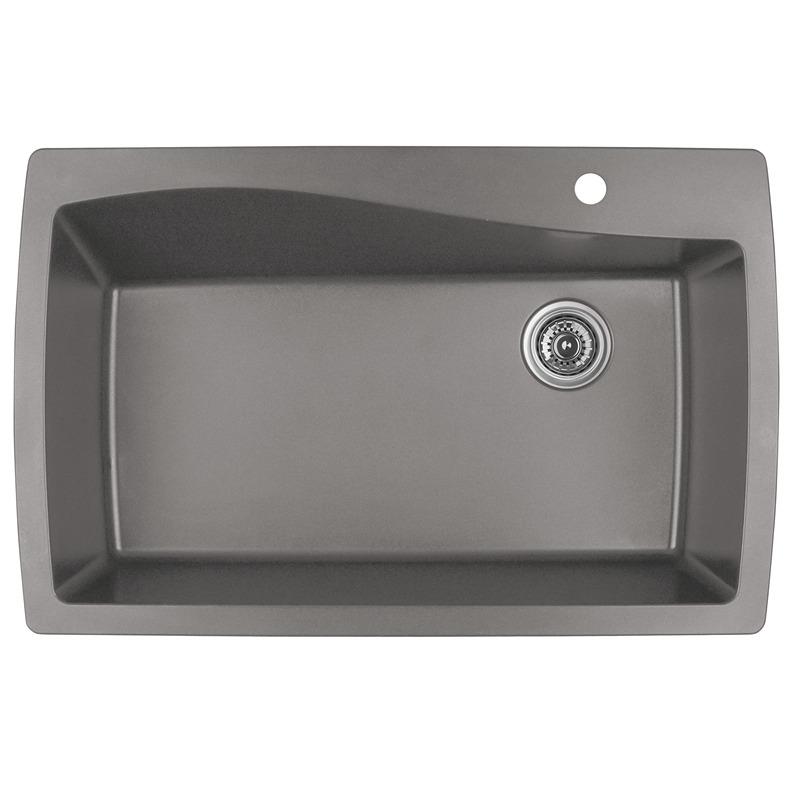 """Karran QT-722 CONCRETE, 34"""" x 22"""" Quartz Top Mount Kitchen Sink Single Bowl, Concrete :: Image 10"""
