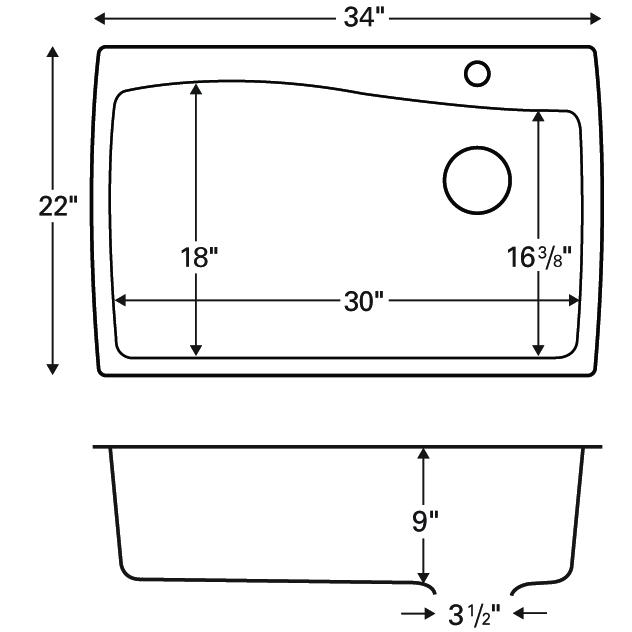 """Karran QT-722 BISQUE, 34"""" x 22"""" Quartz Top Mount Kitchen Sink Single Bowl, Bisque :: Image 20"""