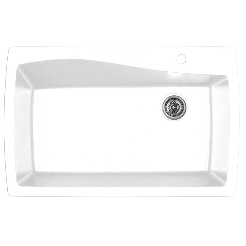 "Karran QT-722 WHITE, 34"" x 22"" Quartz Top Mount Kitchen Sink Single Bowl, White :: Image 10"