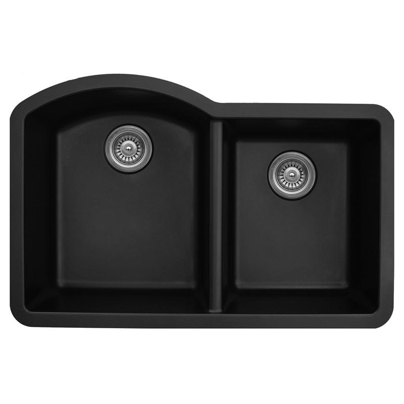"""Karran QU610-BLACK, 32"""" x 21"""" Quartz Sink Undermount Style Large/Small Double Bowls, Black :: Image 10"""
