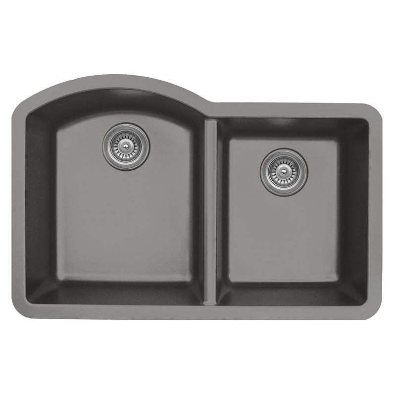 """Karran QU610-CONCRETE, 32"""" x 21"""" Quartz Sink Undermount Style Large/Small Double Bowls, Concrete :: Image 10"""