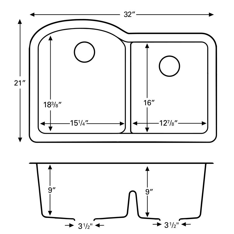 """Karran QU610-BLACK, 32"""" x 21"""" Quartz Sink Undermount Style Large/Small Double Bowls, Black :: Image 20"""