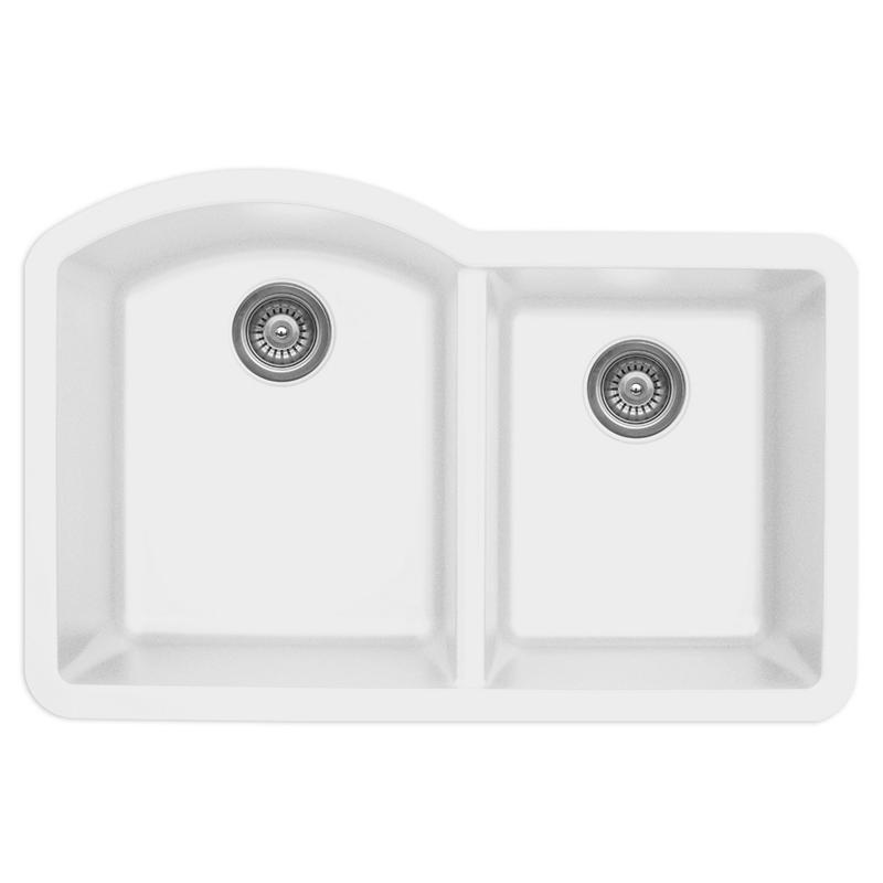 "Karran QU610-WH, 32"" x 21"" Quartz Sink Undermount Style Large/Small Double Bowls, White :: Image 10"