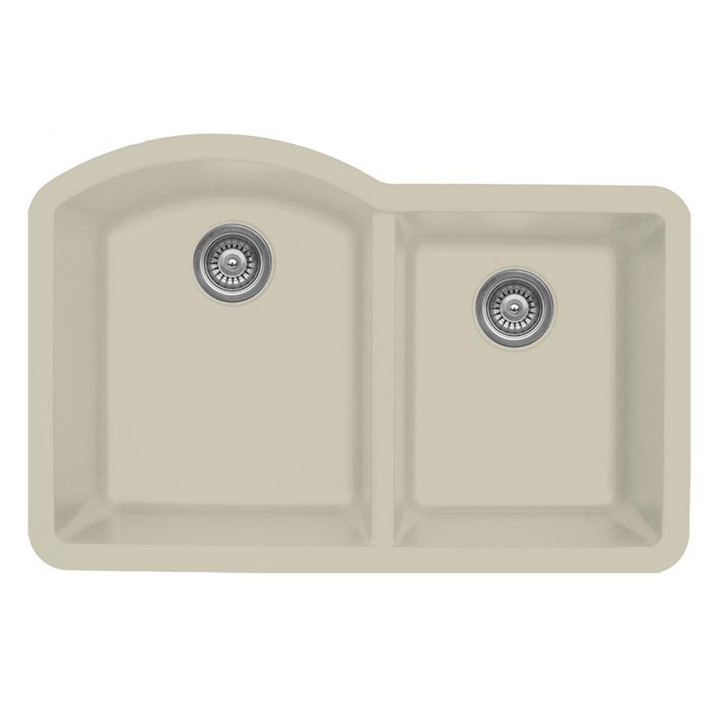 """Karran QU610-BI, 32"""" x 21"""" Quartz Sink Undermount Style Large/Small Double Bowls, Bisque :: Image 10"""