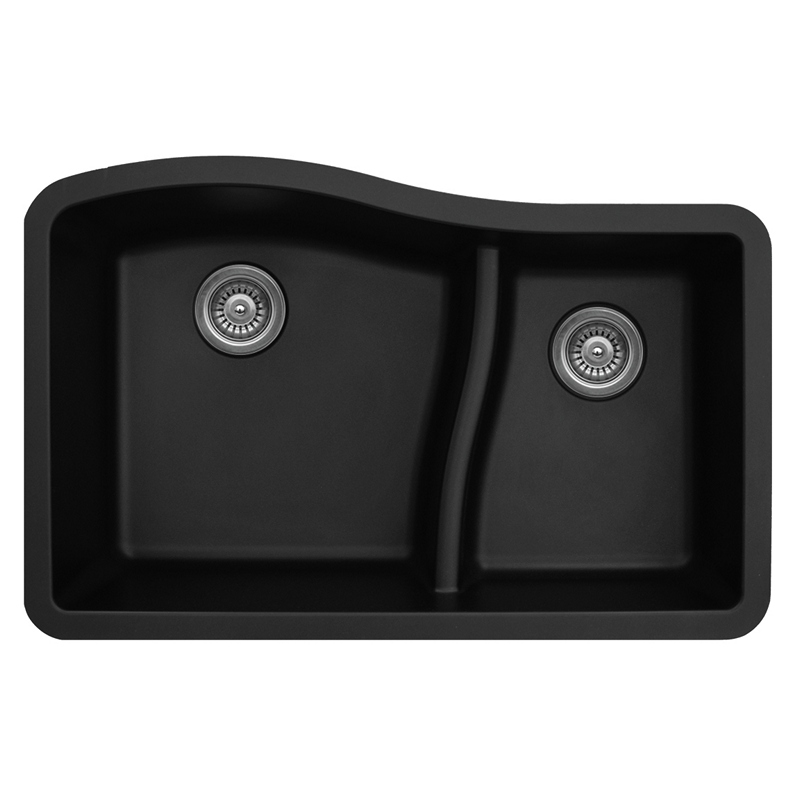 "Karran QU630-BLACK, 32"" x 21"" Quartz Sink Undermount Style Large/Small Double Bowls, Black :: Image 10"