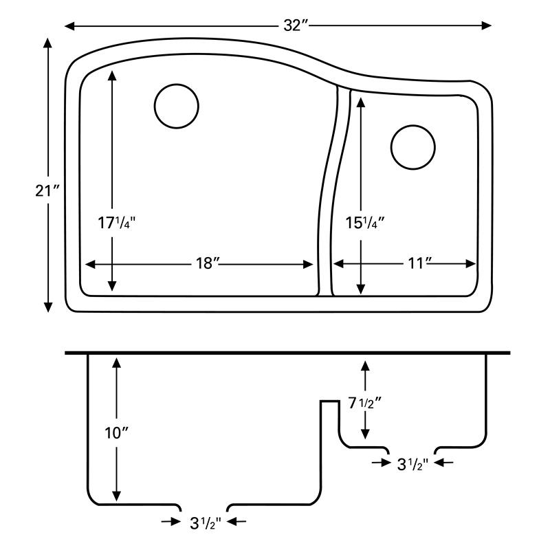 """Karran QU630-BI, 32"""" x 21"""" Quartz Sink Undermount Style Large/Small Double Bowls, Bisque :: Image 20"""