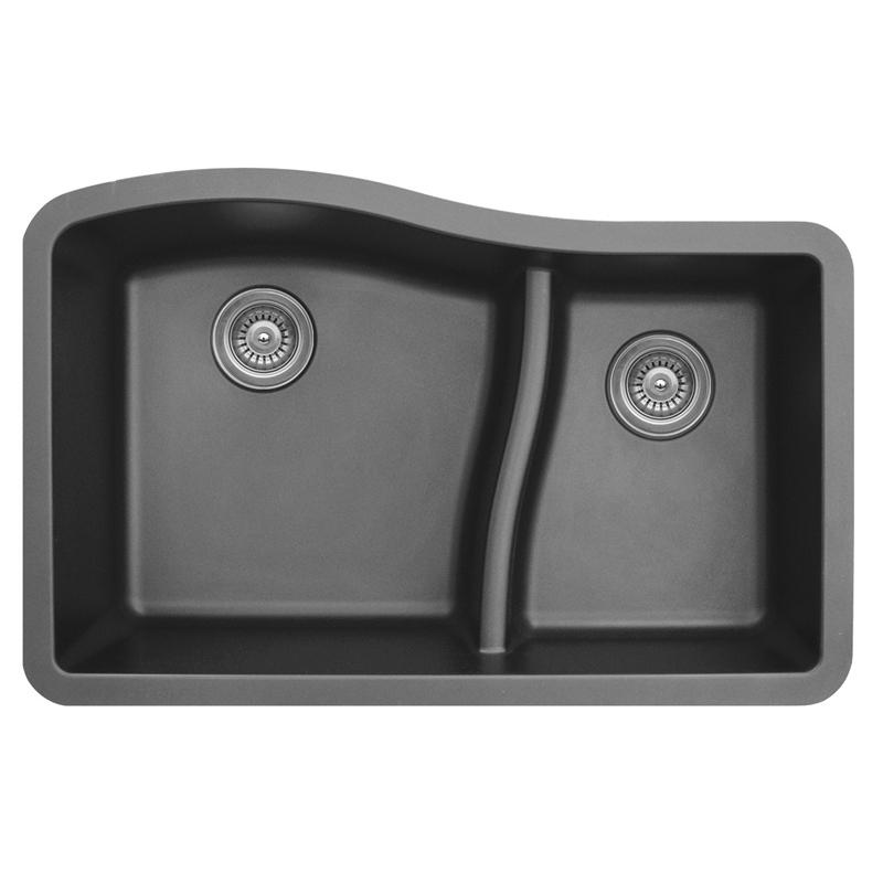 "Karran QU630-GREY, 32"" x 21"" Quartz Sink Undermount Style Large/Small Double Bowls, Grey :: Image 10"