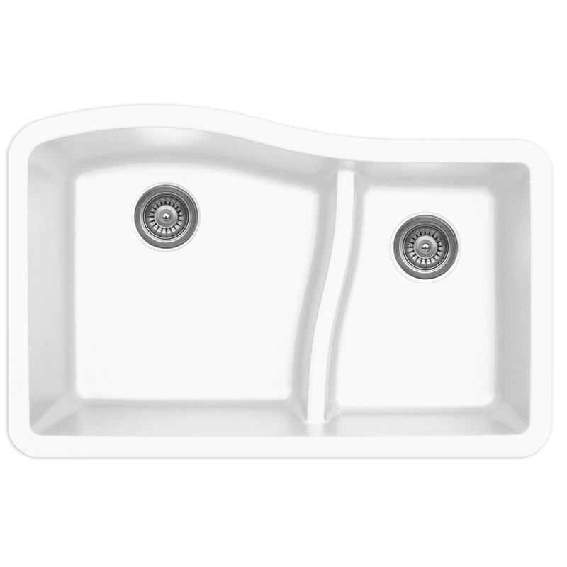"Karran QU630-WH, 32"" x 21"" Quartz Sink Undermount Style Large/Small Double Bowls, White :: Image 10"