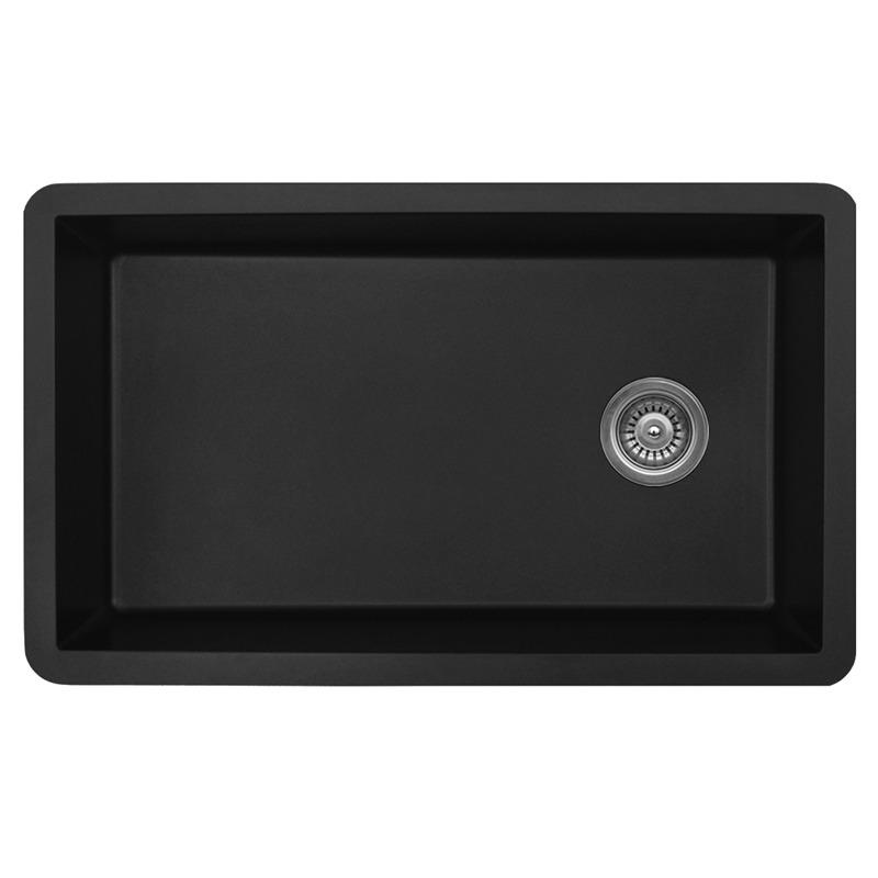 "Karran QU670-BLACK, 31-5/8"" x 19-1/8"" Quartz Sink Undermount Style Large Single Bowl, Black :: Image 10"