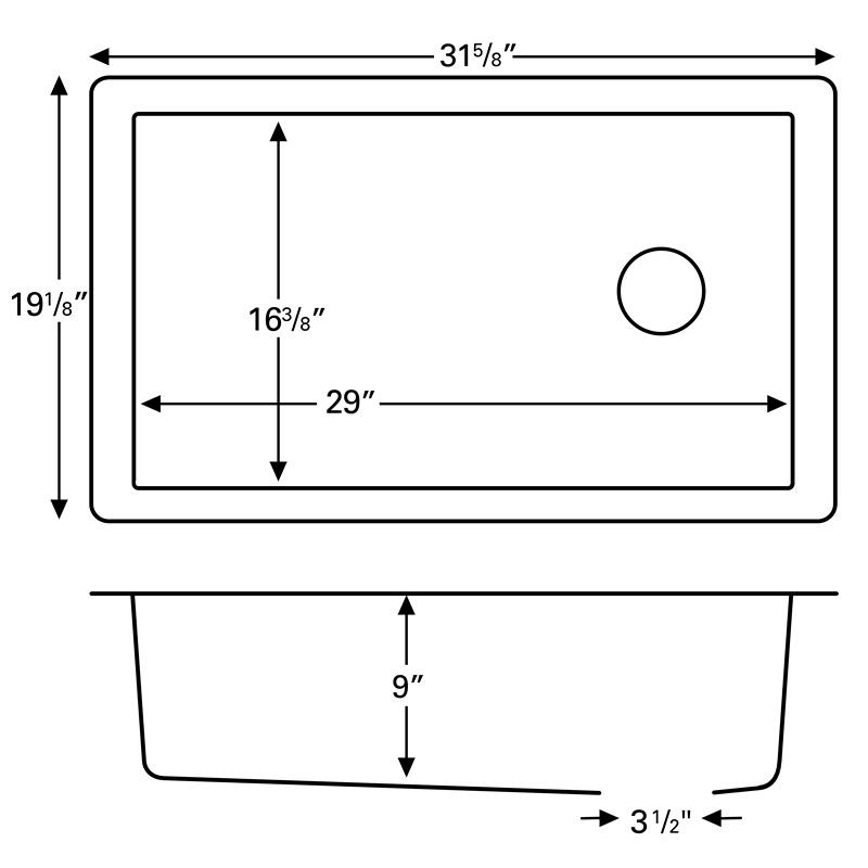 """Karran QU670-BI, 31-5/8"""" x 19-1/8"""" Quartz Sink Undermount Style Large Single Bowl, Bisque :: Image 20"""