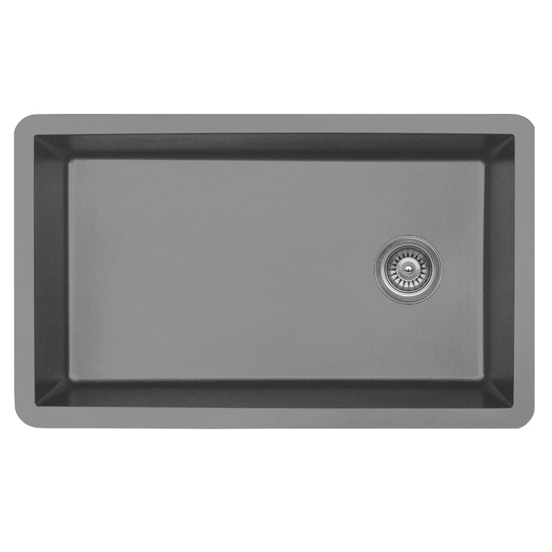 "Karran QU670-GREY, 31-5/8"" x 19-1/8"" Quartz Sink Undermount Style Large Single Bowl, Grey :: Image 10"