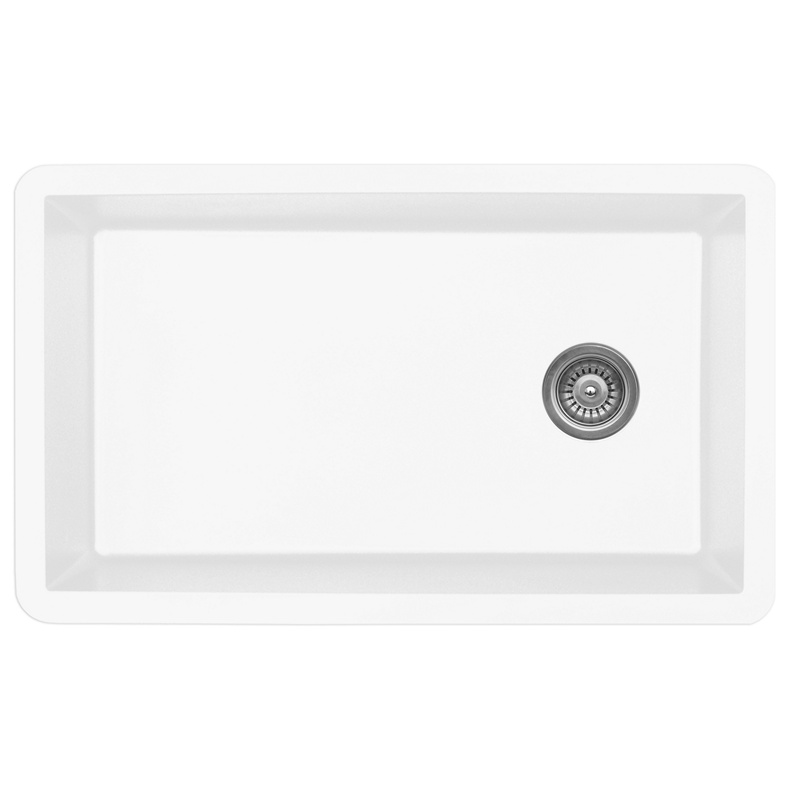"Karran QU670-WH, 31-5/8"" x 19-1/8"" Quartz Sink Undermount Style Large Single Bowl, White :: Image 10"