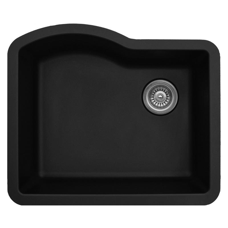 "Karran QU671-BLACK, 24"" x 21"" Quartz Sink Undermount Style Large Single Bowl, Black :: Image 10"