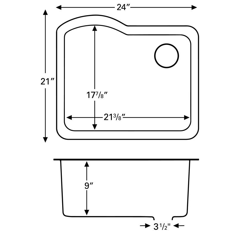 """Karran QU671-BI, 24"""" x 21"""" Quartz Sink Undermount Style Large Single Bowl, Bisque :: Image 20"""