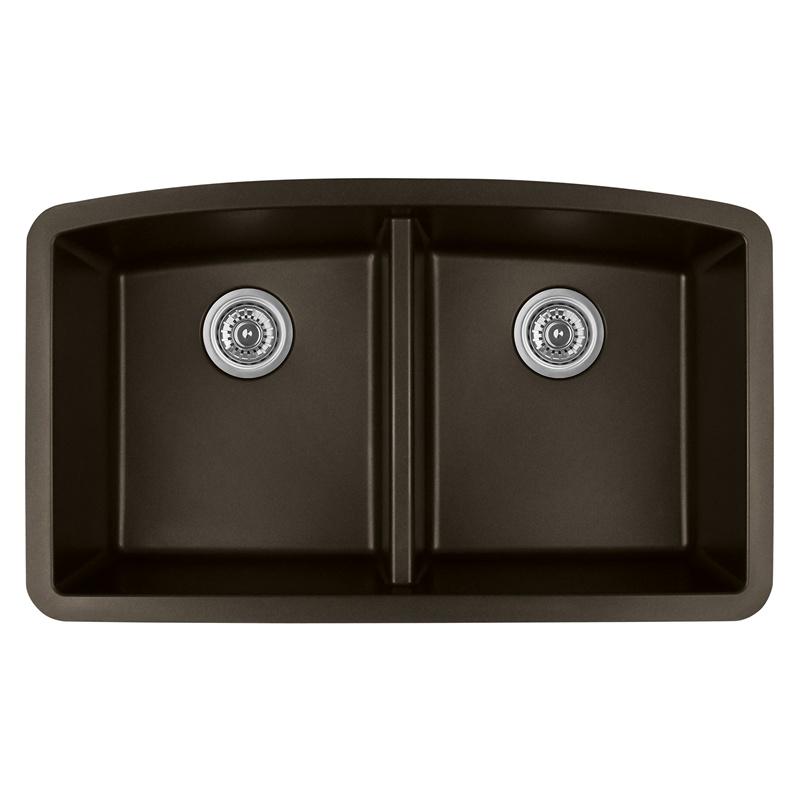 """Karran QU-710 BROWN, 32-1/2"""" x 19-1/2"""" Quartz Undermount Kitchen Sink Double Bowl, Brown :: Image 10"""