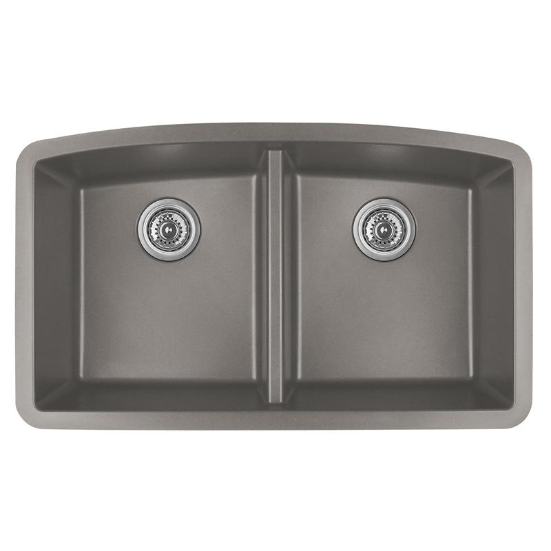 """Karran QU-710 CONCRETE, 32-1/2"""" x 19-1/2"""" Quartz Undermount Kitchen Sink Double Bowl, Concrete :: Image 10"""
