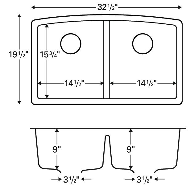 """Karran QU-710 BISQUE, 32-1/2"""" x 19-1/2"""" Quartz Undermount Kitchen Sink Double Bowl, Bisque :: Image 20"""