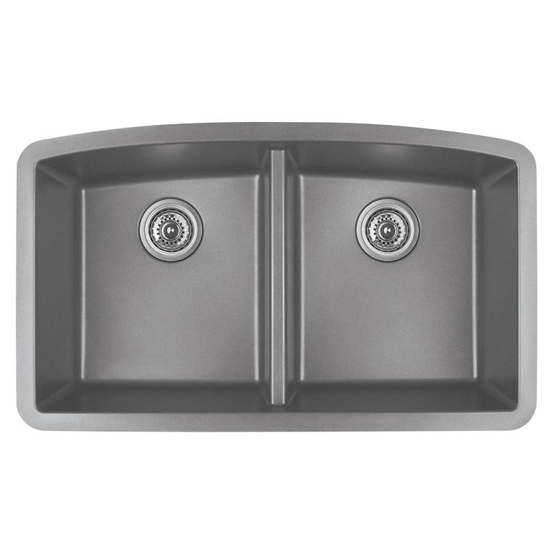 "Karran QU-710 GREY, 32-1/2"" x 19-1/2"" Quartz Undermount Kitchen Sink Double Bowl, Grey :: Image 10"