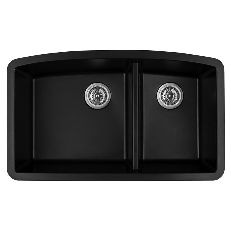 """Karran QT-711 BLACK, 33"""" x 22"""" Quartz Top Mount Kitchen Sink Double Bowl, Black :: Image 10"""