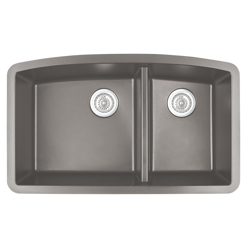 "Karran QU-711 CONCRETE, 32-1/2"" x 19-1/2"" Quartz Undermount Kitchen Sink Double Bowl, Concrete :: Image 10"