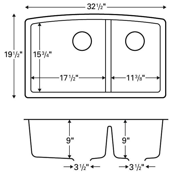 """Karran QU-711 WHITE, 32-1/2"""" x 19-1/2"""" Quartz Undermount Kitchen Sink Double Bowl, White :: Image 20"""