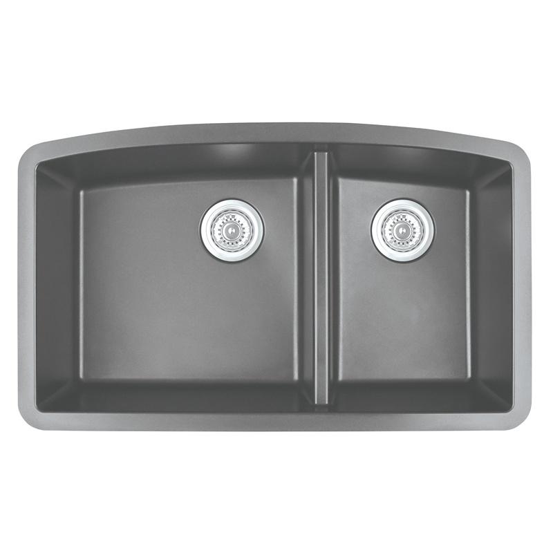 "Karran QT-711 GREY, 33"" x 22"" Quartz Top Mount Kitchen Sink Double Bowl, Grey :: Image 10"