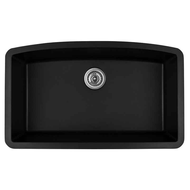 "Karran QU-712 BLACK, 32-1/2"" x 19-1/2"" Quartz Undermount Kitchen Sink Single Bowl, Black :: Image 10"