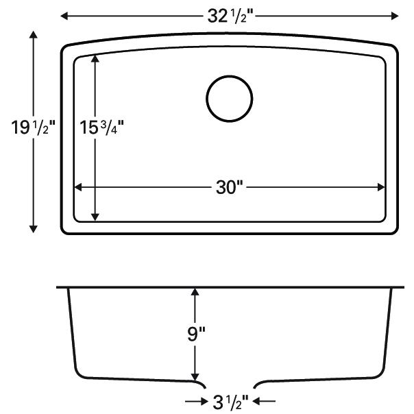 """Karran QU-712 BISQUE, 32-1/2"""" x 19-1/2"""" Quartz Undermount Kitchen Sink Single Bowl, Bisque :: Image 20"""