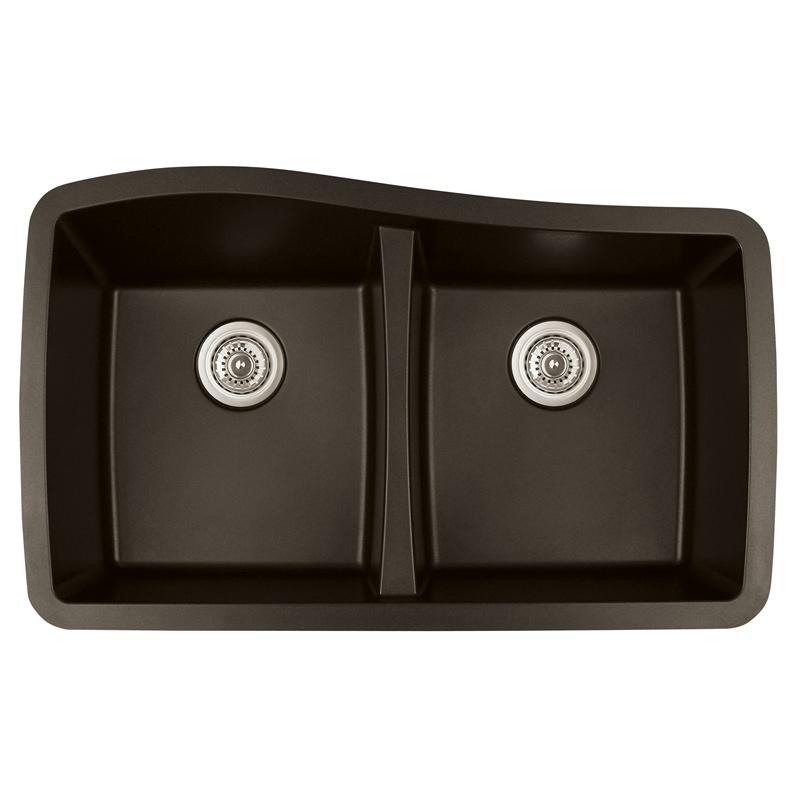 """Karran QU-720 BROWN, 33-1/2"""" x 20-1/2"""" Quartz Undermount Kitchen Sink Double Bowl, Brown :: Image 10"""