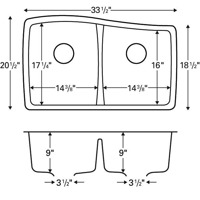 """Karran QU-720 WHITE, 33-1/2"""" x 20-1/2"""" Quartz Undermount Kitchen Sink Double Bowl, White :: Image 20"""